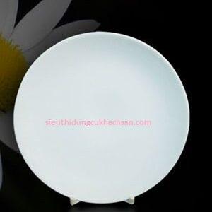 Đĩa sứ trắng hình tròn 22cm tại dụng cụ bếp nhà hàng Tín Phát TPHCM
